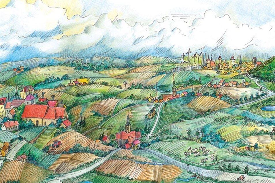 Görlitz kann nicht immer nur im Vordergrund stehen. In dieser Zeichnung ist die Stadt nur am Horizont zu sehen – im Fokus steht hier Reichenbach.