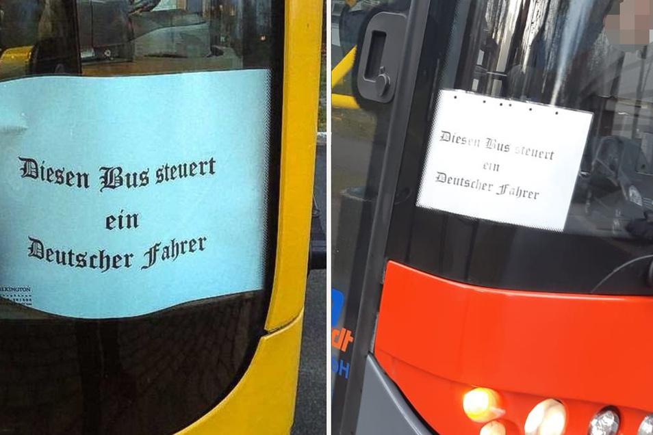 Diese selbstgedruckten Zettel an Bussen der Linien 90 und 85 sorgten in Dresden für Aufsehen.