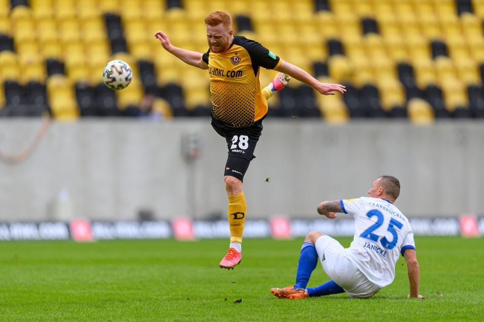 Dynamo kommt schwer ins Spiel. Das sieht man auch im Gesicht von Paul Will. Dresden liegt 0:1 zurück.