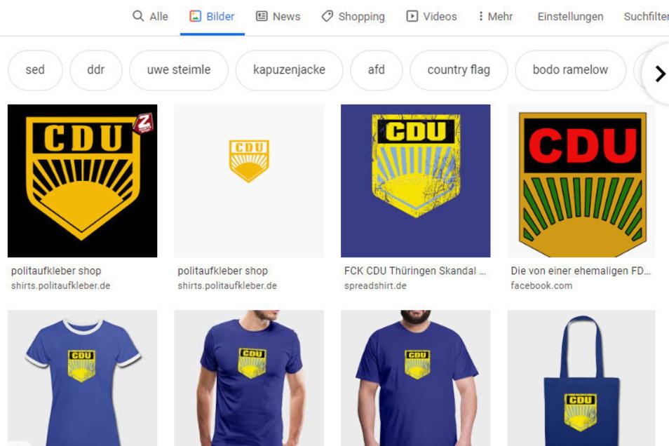 In vielen Farben und jeweils leicht anders geformt: Die Symbolik aus CDU-Kürzel und FDJ-Logo findet sich im Netz an vielen Stellen. Über Onlineshops werden etliche Produkte vertrieben.