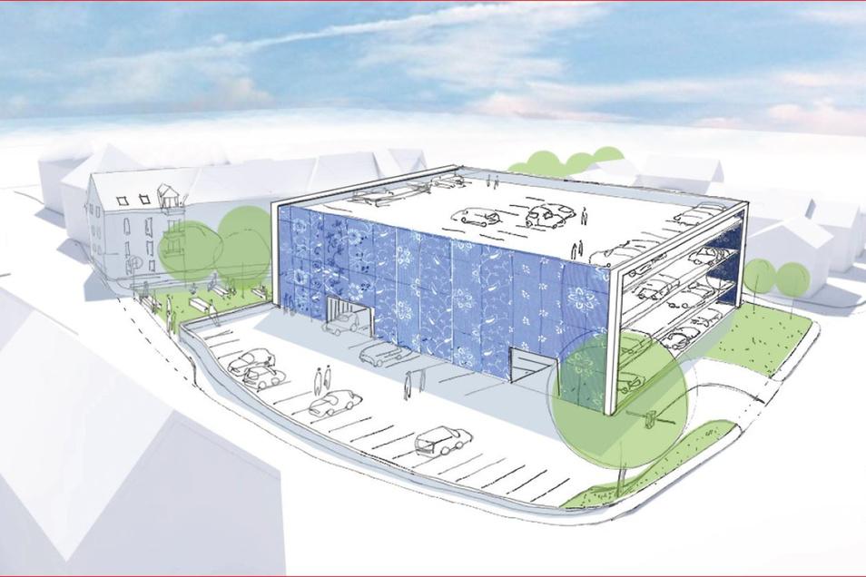 So könnte das künftige Parkhaus in Pulsnitz an der Dresdener Straße, Ecke August-Bebel-Straße aussehen. Mitarbeiter des Planungsbüros Schubert entwarfen diese Vision.