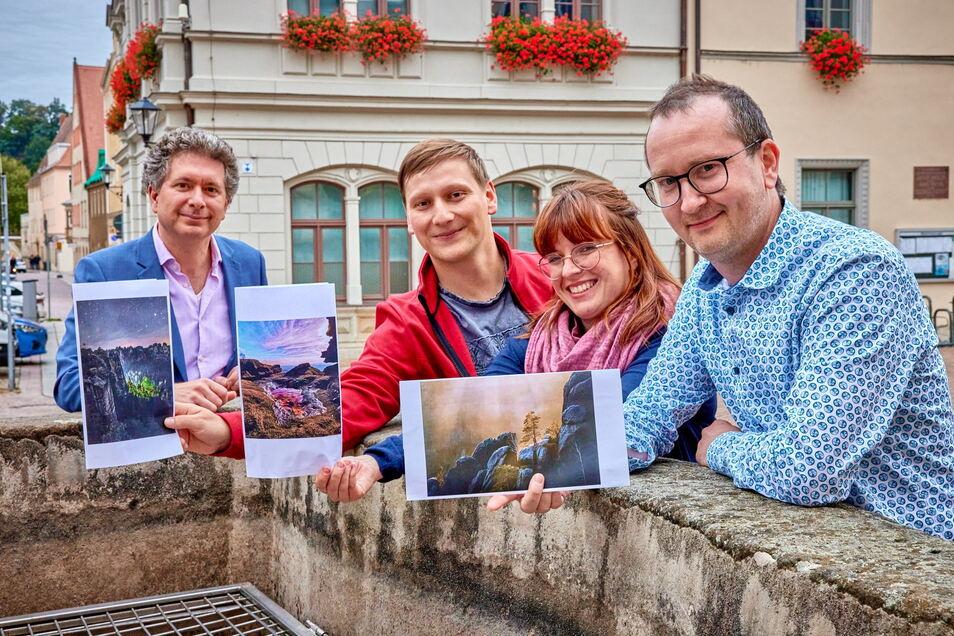 SZ-Regionalgeschäftsführer Domokos Szabó, Fotowettbewerbs-Gewinner Hannes Bombelek, Josefin Große und Benjamin Korth (v.l.).