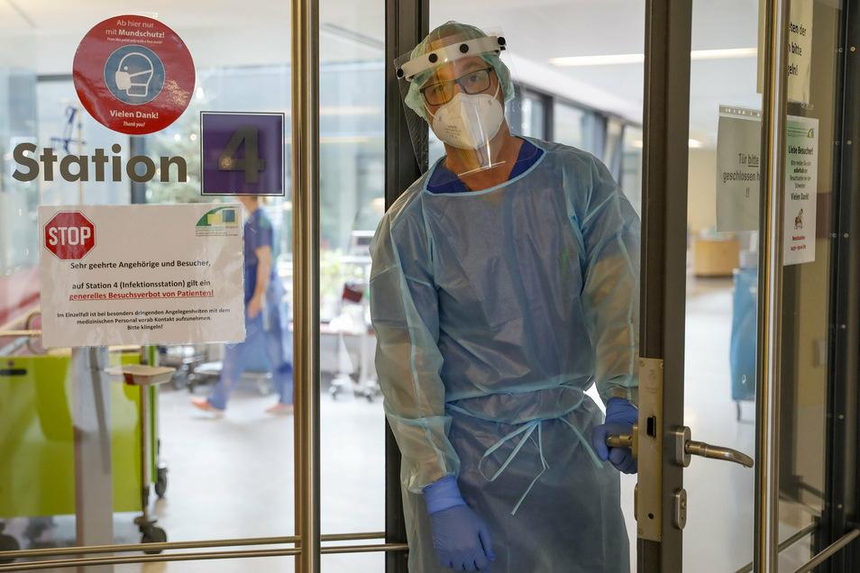 Die Station 4 im Zittauer Krankenhaus ist zur reinen Corona-Isolierstation umfunktioniert.