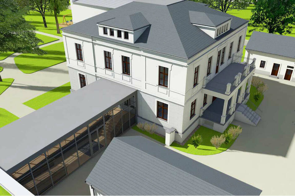 Über einen Glasbau sollte der Anbau mit der Villa verbunden werden.