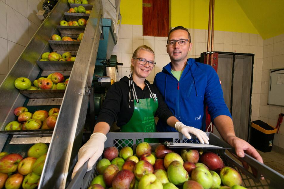 In der Mosterei Petzold in Seifersdorf läuft die Apfelpresse auf vollen Touren. Nadine (32) und Rico Petzold (38) betreiben die kleine Firma seit drei Jahren im Nebengeschäft.