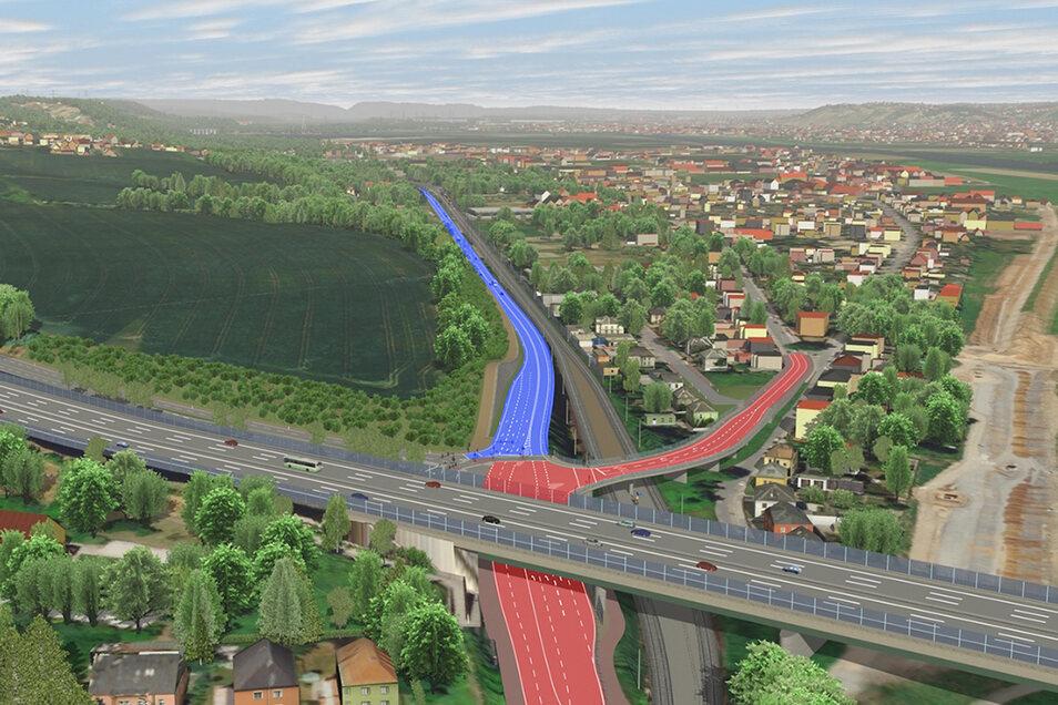 Die neue B 6 (blau) soll auf vier Kilometern Länge zwischen der Autobahnabfahrt Dresden-Altstadt und Cossebaude parallel zu den Bahngleisen verlaufen. Damit soll die alte B 6 (rot) entlastet werden.