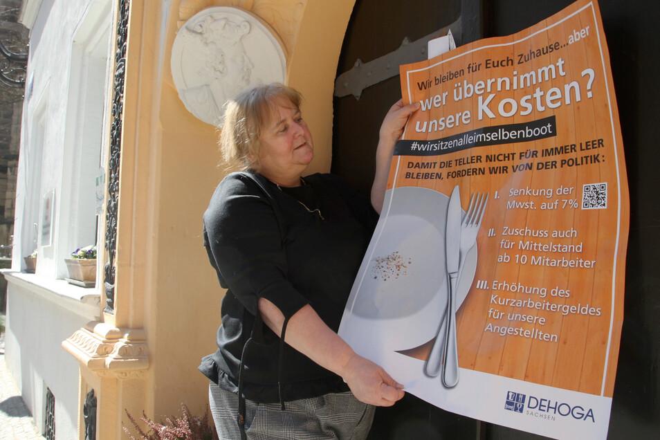 """Regina Riedel, Inhaberin des Romantik-Hotels """"Deutsches Haus"""" in Pirna, mit Forderungen der Gastro-Branche: Sonst droht fast jedem zweiten Betrieb das Aus."""