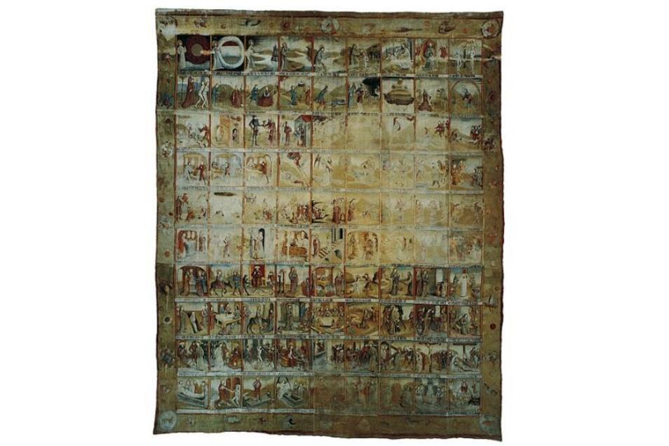 Wie eine Bilderbibel ist das Große Zittauer Fastentuch gestaltet. 90 Felder wurden einst auf das Leinen gemalt. Das Tuch misst 6,20 Meter in der Breite und 8, 60 Meter in der Höhe.