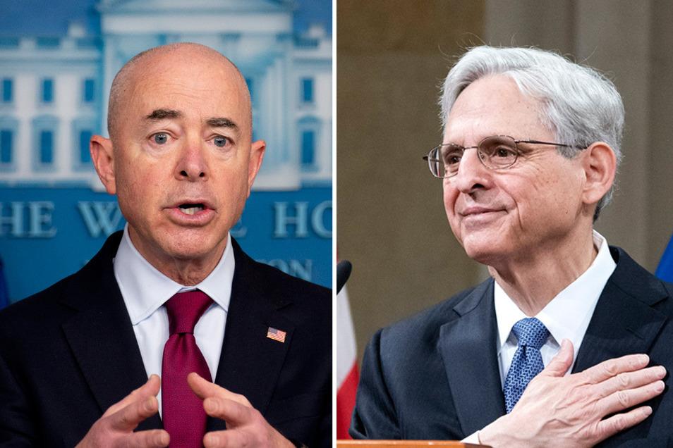 Alejandro Mayorkas (l), Heimatschutzminister der USA und US-Justizminister Merrick Garland dürfen nicht mehr nach Russland einreisen.