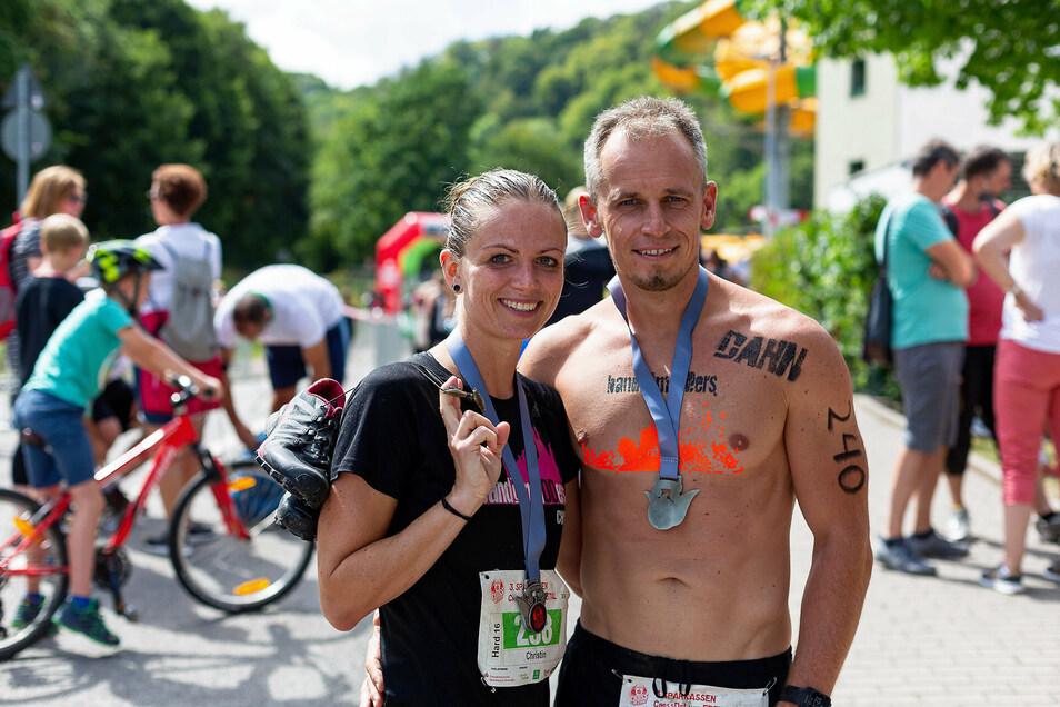 Christin Henke und Danilo Renz aus Dresden liefen bereits zum dritten Mal mit. Christin Henke war 2019 die Schnellste Frau über 16 Kilometer.