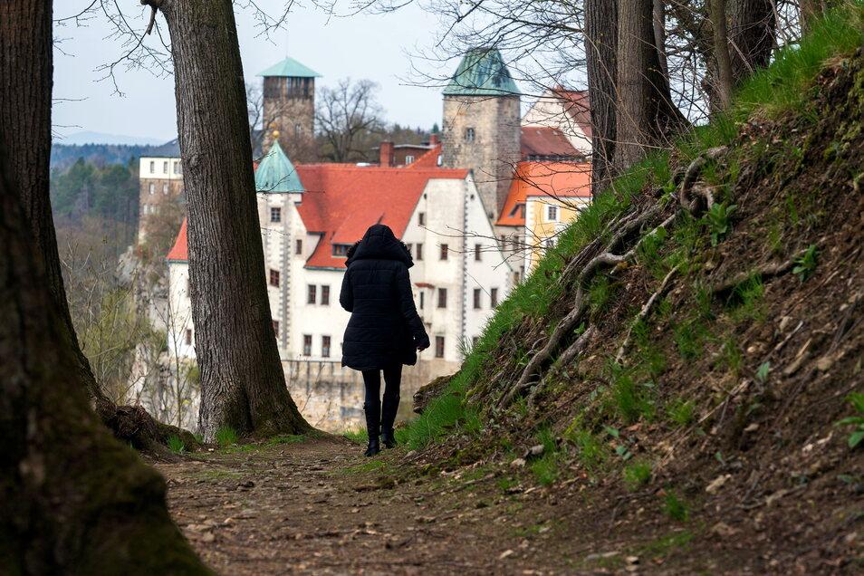 Vom Röhrenweg oberhalb von Hohnstein bieten sich interessante und immer wieder neue Ausblicke auf die Stadt.
