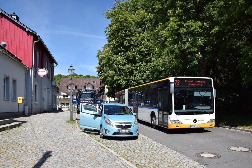 Kein Zug kam am Mittwoch nach Geising. Stattdessen fuhr Schienenersatzverkehr per Bus.
