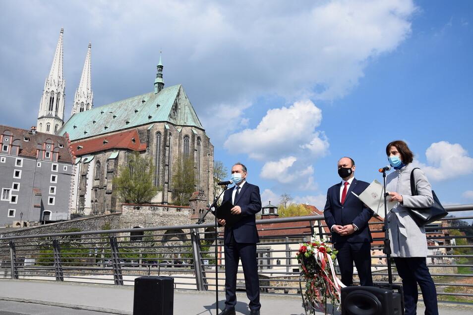 Gedenken zum Ende des Zweiten Weltkrieges auf der Altstadtbrücke Foto: Stadt Görlitz
