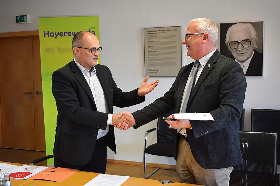 Oberbürgermeister von Kamenz Roland Dantz und Oberbürgermeister von Hoyerswerda Torsten Ruban-Zeh