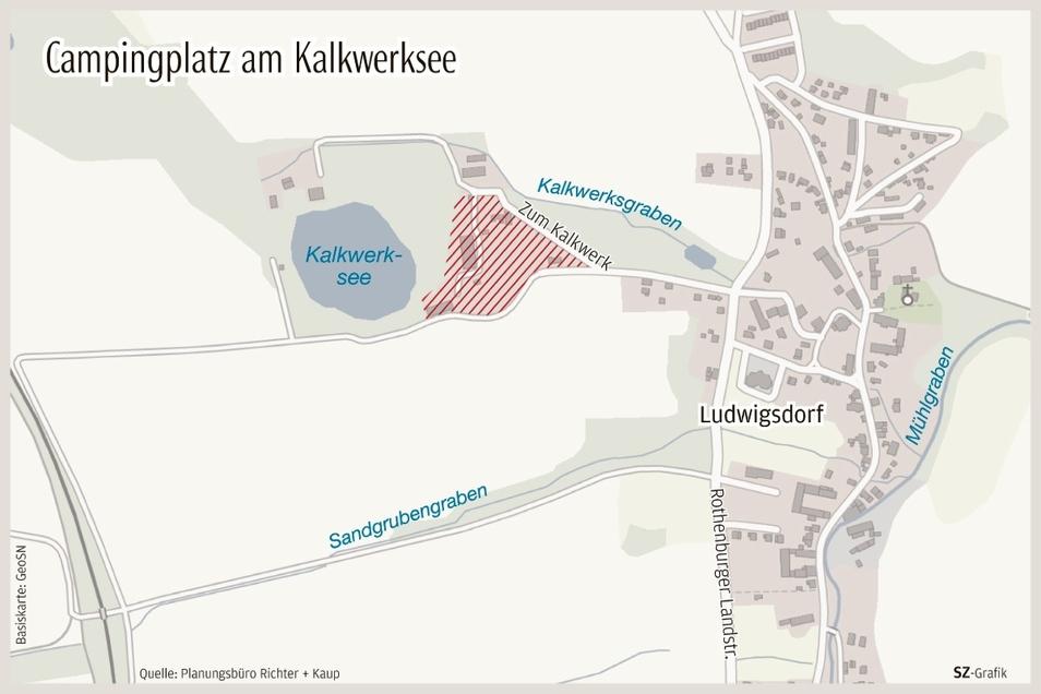 Die Grafik aus dem Vorjahr zeigt, wo der künftige Campingplatz am Kalkwerkssee zu finden ist.