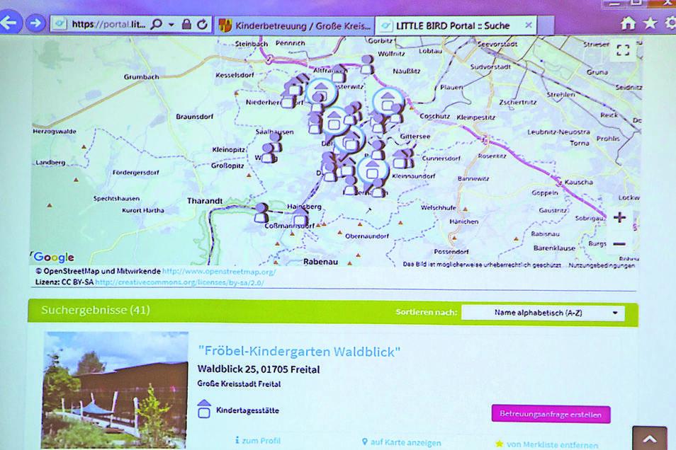 2. Nach der Registrierung können Kita-Plätze zum Beispiel in einem bestimmten Umkreis rund um den Wohnort gesucht werden. Die Treffer werden auf einer Karte angezeigt.