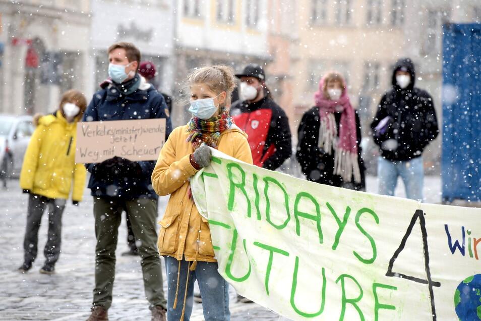 Etwa 70 Leute waren am Freitagnachmittag dem Aufruf von Fridays for Future zur Demonstration auf dem Zittauer Marktplatz gefolgt.