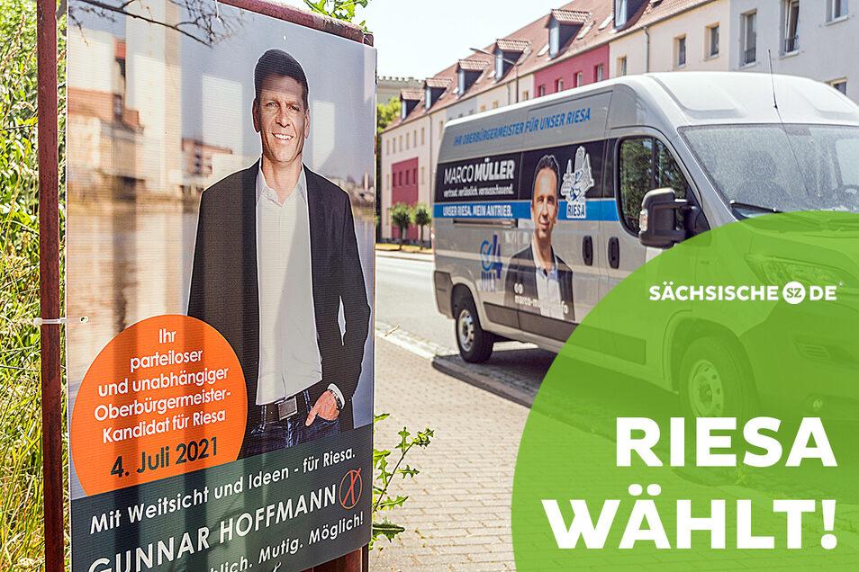 Werbung auf Plakaten oder auf Autos wie hier an der Dr.-Külz-Straße sind längst nicht alles. Auch online buhlen Riesas OB-Kandidaten um Wähler.