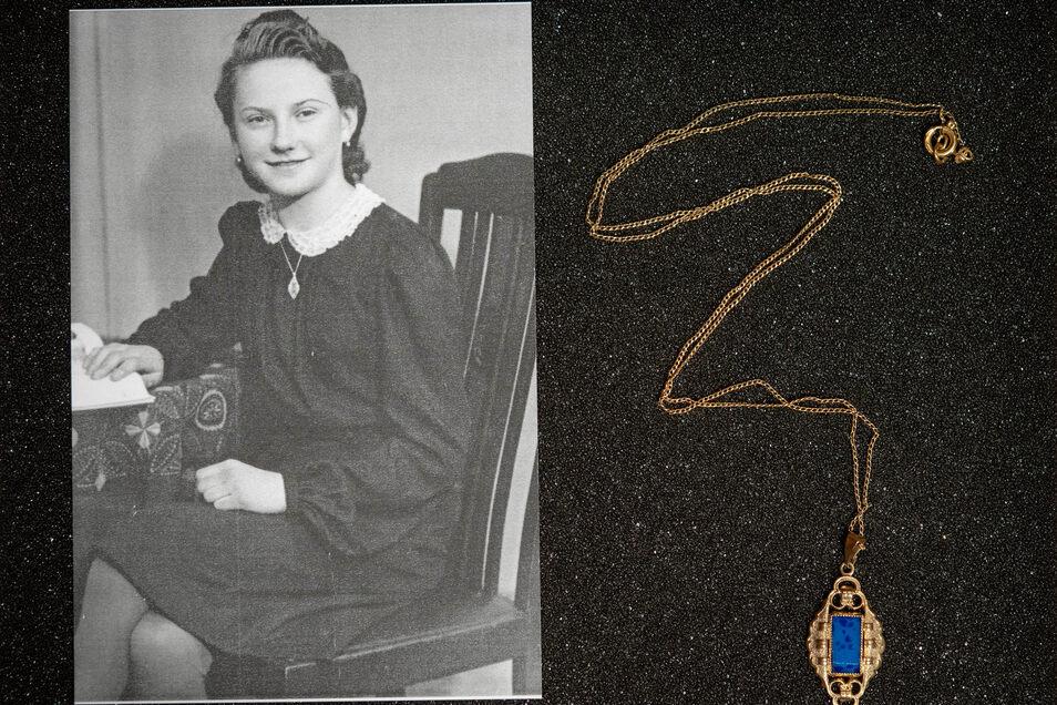Erinnerung an Helga Härtig: ihre Kette mit dem blauen Medaillon, die sie zur Konfirmation bekommen hatte. Die junge Frau starb mit 18 Jahren beim Bombenangriff auf Pirna.