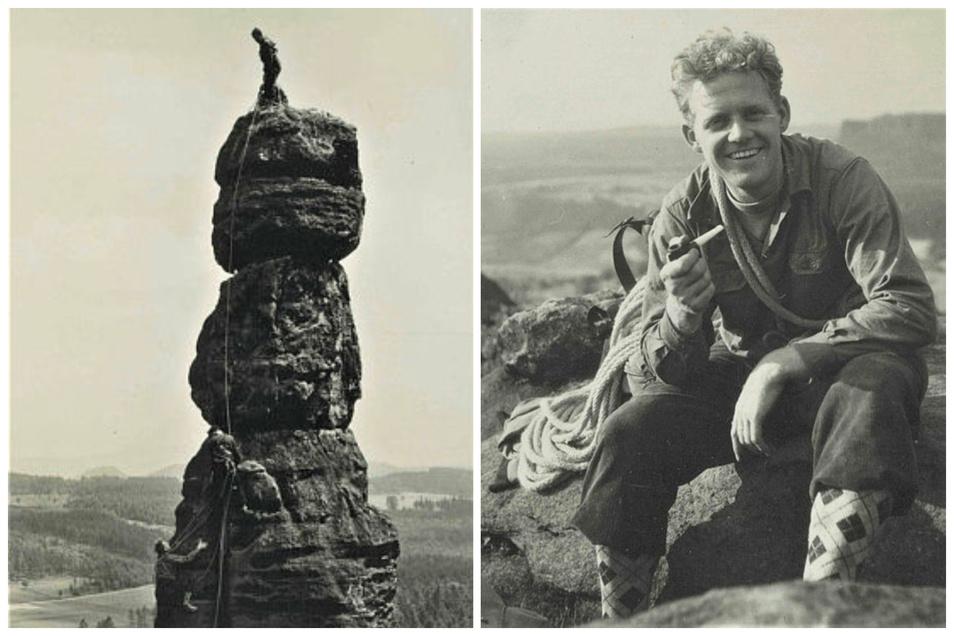 Kletterrunde in der Sächsischen Schweiz im Juni 1956: Mit der Sebnitzer Seilschaft Heinz Mitzscherlich, Roland Simmchen und Lothar Meister erklimmt Täve Schur (Foto links, unten) die Barbarine. Auf dem Gipfel angekommen, gab es von den Bergfreunden auch m