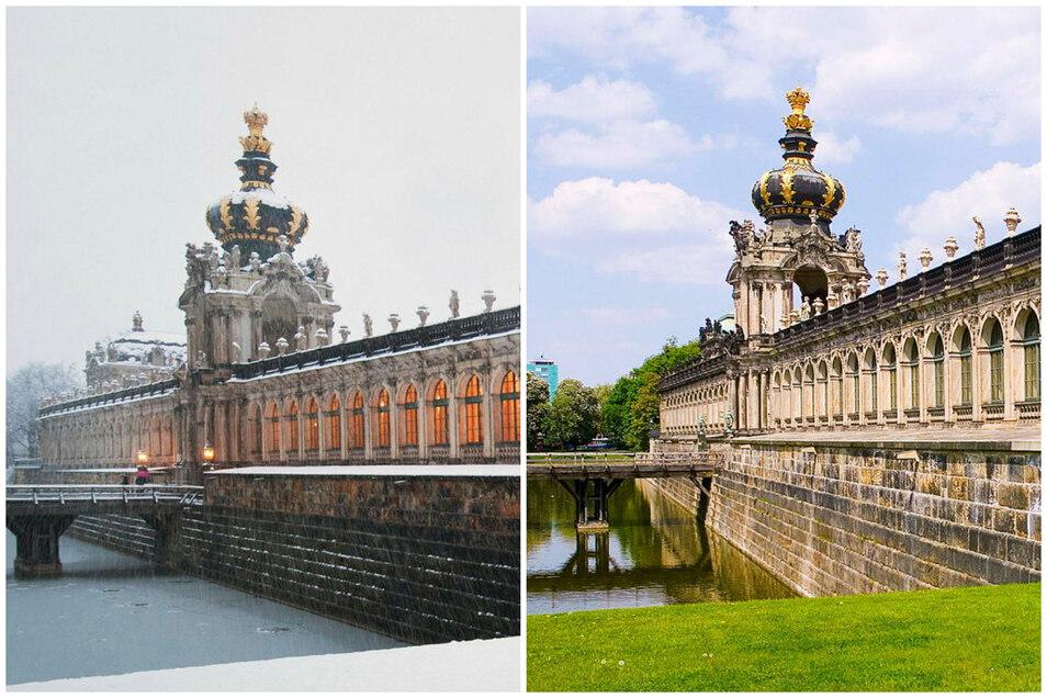 Das Kronentor im Frühling und im Winter - diese beiden Fotos würden sich so im Februar 2021 schießen lassen.