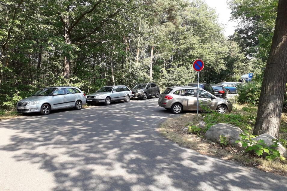 Bei der Seenentwicklung werden Parkplätze eine größere Rolle spielen müssen. Am Scheibe-See wird jedenfalls geparkt, wo ein Auto hinpasst.