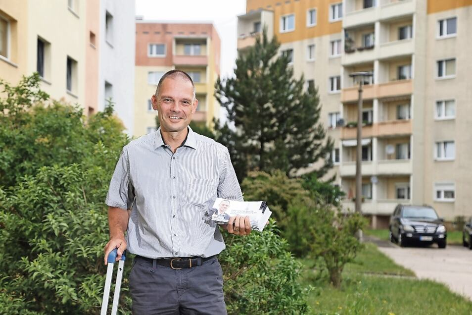 """Die Werbeaktion scheint sich gelohnt zu haben: Der Zeithainer Bürgermeister Ralf Hänsel war zuletzt unter anderem in """"Nikopol"""" unterwegs, um für seine Wiederwahl zu werben. Am Ende konnte er rund 93 Prozent der Stimmen auf sich vereinen."""