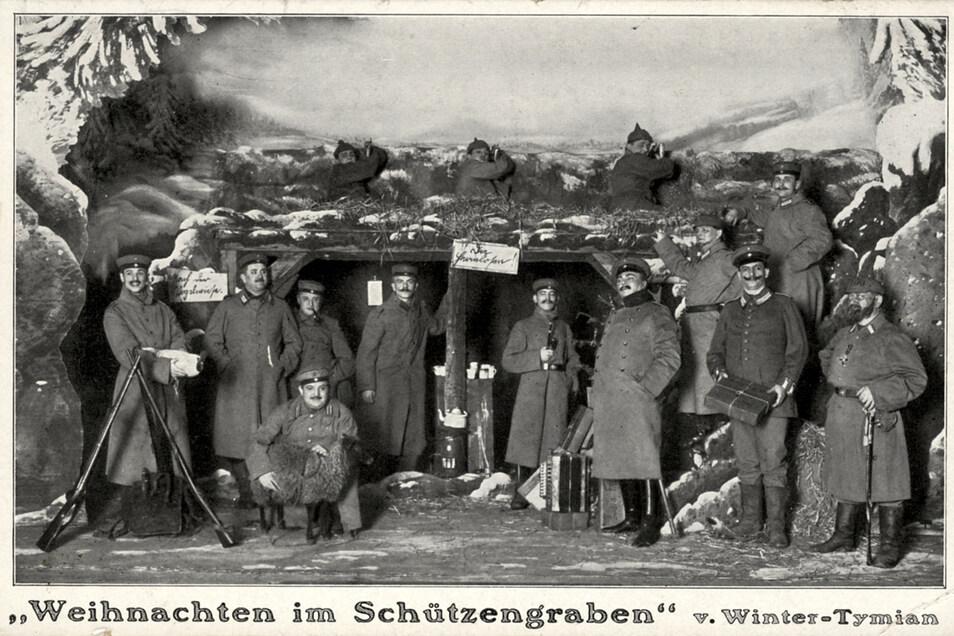 """In Dresden gab es bis 1945 Tymians Thalia Theater in der Görlitzer Straße. Dort wurde im Ersten Weltkrieg """"Weihnachten im Schützeengraben"""" inszeniert und davon sogar eine Postkarte gedruckt."""