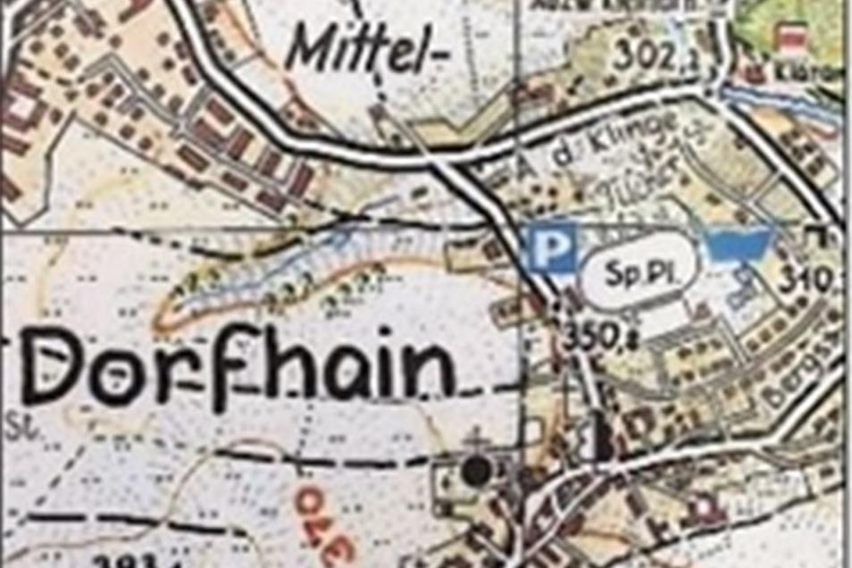 Mitteldorfhain gibt es tatsächlich, wie ein Ausschnitt einer Wanderkarte des Tharandter Waldes von Rolf Böhm zeigt.