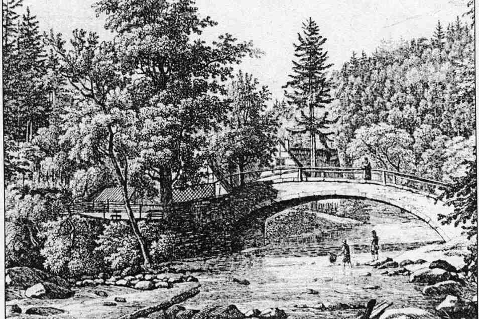 """""""Thal bey Rabenau"""", Kupferstich von Traugott Faber, entstanden um 1831."""