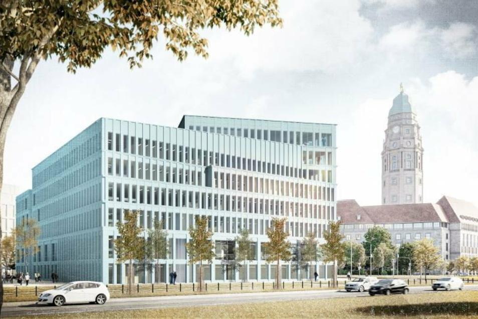 So stellen sich Architekten das neue Verwaltungszentrum am Ferdinandplatz in Dresden (Blick von St. Petersburger Straße) vor. Es ist einer von zwei Entwürfen, über die in reichlich einem Monat final abgestimmt wird.