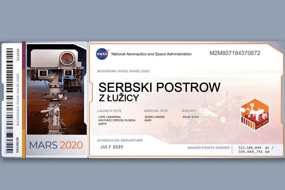 Diesen Boarding-Pass, der mit dem Nasa-Rover auf den Mars geflogen ist, hat Claudia Knobloch aus Radibor mir sorbischen Grüßen versehen.