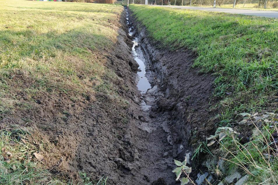 Mit der Grabenfräse können die Straßengräben, wie in Gebersbach, schneller und mit weniger Aufwand gesäubert werden, als bisher.