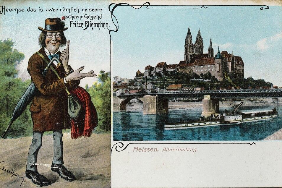 Für die populäre Kunstfigur Fritz Bliemchen galt: Sachsen, Sachsen über alles. Die einen Sachsen liebten, die anderen hassten ihn dafür.