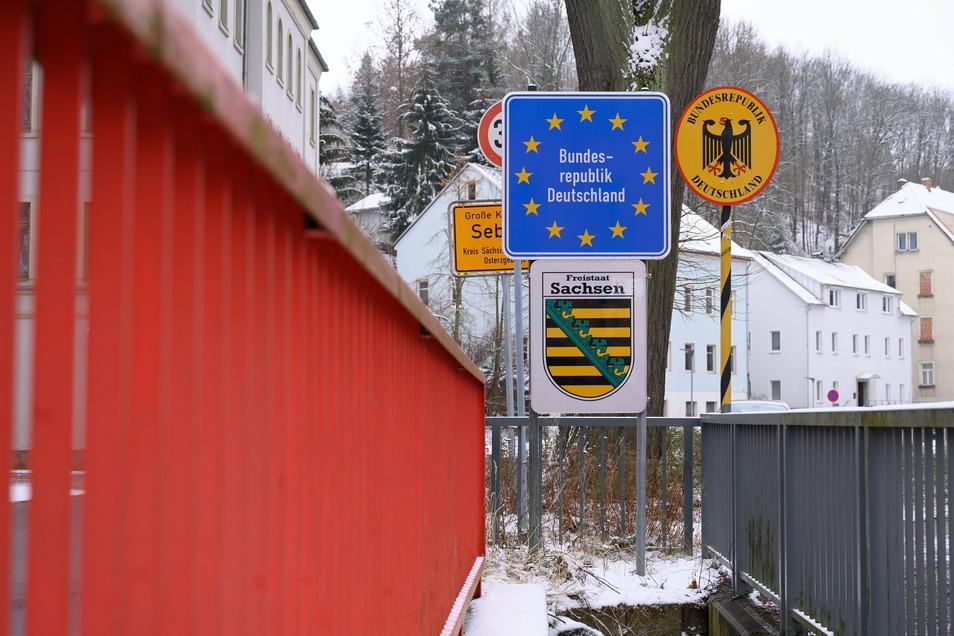 Der deutsch-tschechische Grenzübergang in Sebnitz.