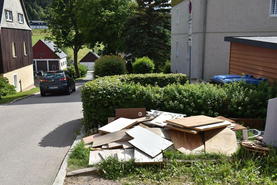 Dieser Sperrmüllhaufen an der Büttnerstraße in Altenberg überlebte mehr als drei Wochen.