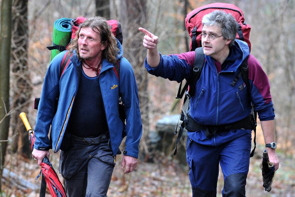 Götz Wiegand ist mit seinem Bergsportpartner Frank Meutzner auch in der Sächsischen Schweiz unterwegs. Da trainieren beide für ihre Expeditionen.