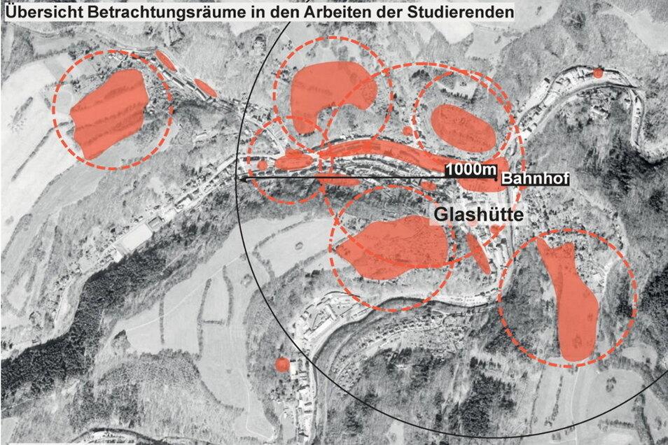 Die farblich gestalteten Flächen kämen aus Sicht der Lenkungsgruppe für den Bau der Neustadt Glashütte infrage.
