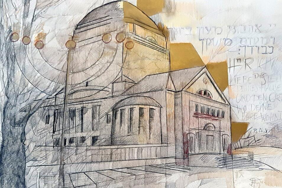 Diese Zeichnung der früheren Görlitzer Synagoge hat Andreas Neumann-Nochten zugunsten des Davidsterns versteigert.