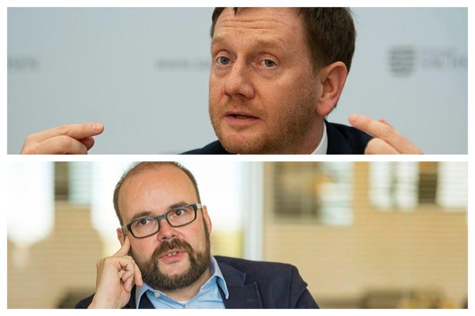 Ministerpräsident Michael Kretschmer (o.) und Kultusminister Christian Piwarz haben Fragen zu den neuen Corona-Regeln auf Facebook beantwortet.