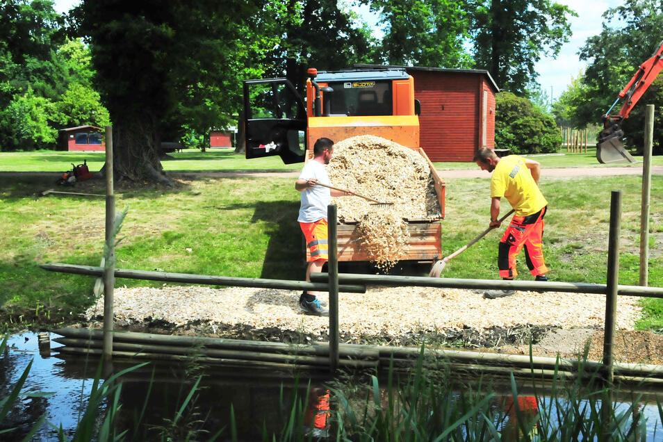 Bauhofmitarbeiter richten das Wassertreten ein.