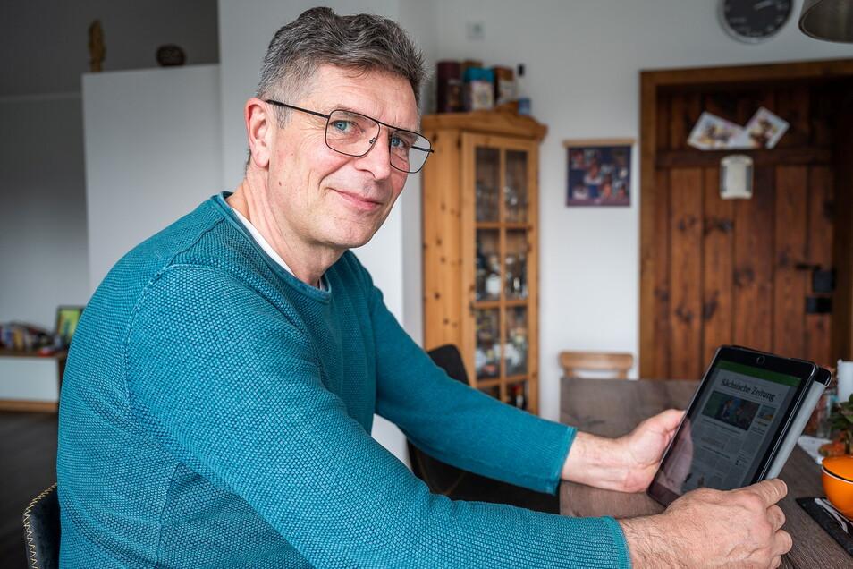 Frank Siwek liest die Sächsische Zeitung seit anderthalb Jahren online, noch bevor die gedruckte Ausgabe erscheint.