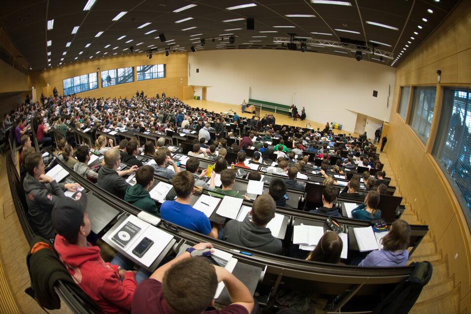 So voll werden die Hörsäle der TU Dresden bis Anfang Mai erst einmal nicht mehr sein.