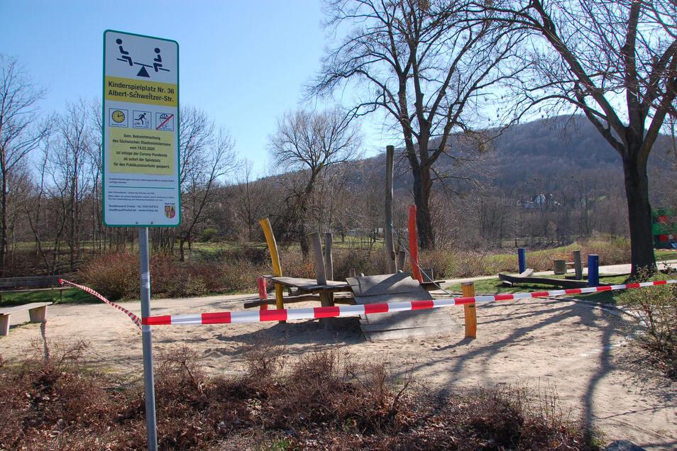 Ein Bild aus der Vergangenheit: Freitals Spielplätze sind nicht länger gesperrt.