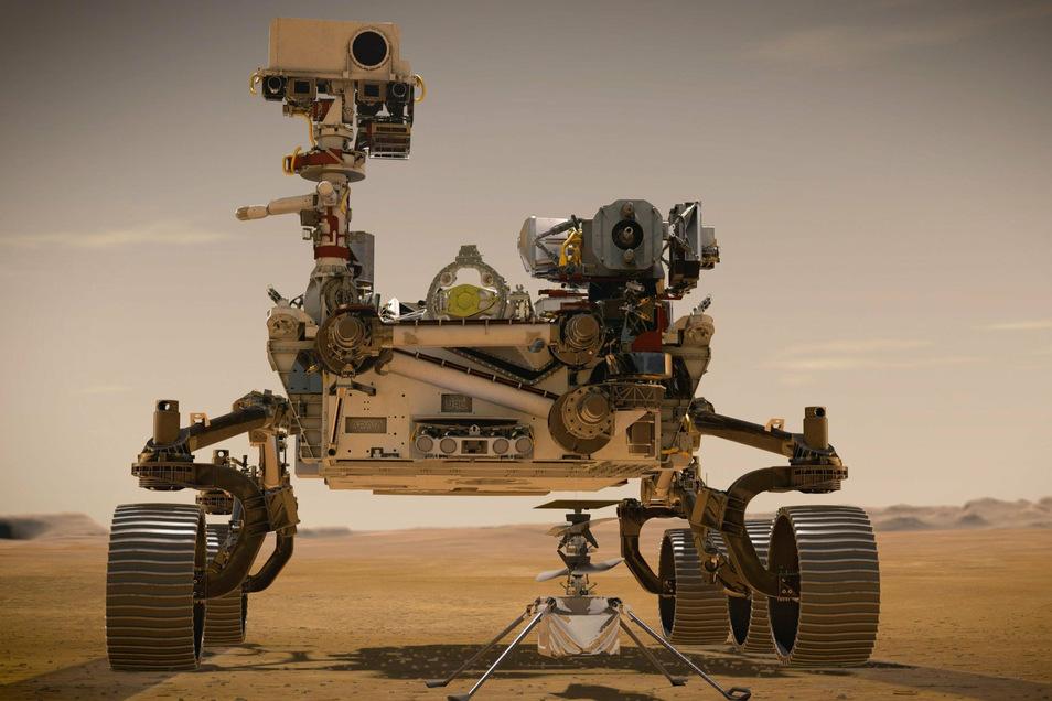 """Diese grafische Darstellung zeigt den NASA-Rover """"Perseverance"""" auf der Marsoberfläche im Einsatz. Der Rover ist eine Art verbesserte Version des 2012 auf dem Mars gelandeten """"Curiosity""""-Rover, der noch immer aktiv ist."""
