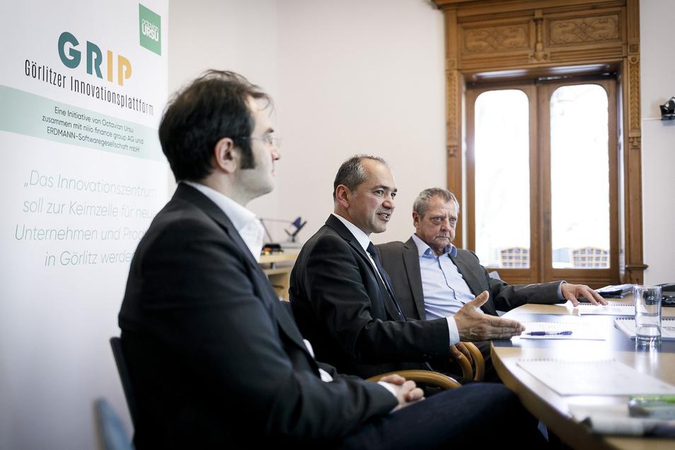 Das sind die Macher von Grip: Johann Horch, Vorstand der niiio finance group AG, Landtagsabgeordneter Octavian Ursu und Ulrich Erdmann, Geschäftsführer der Erdmann Softwaregesellschaft mbH (v.l.).