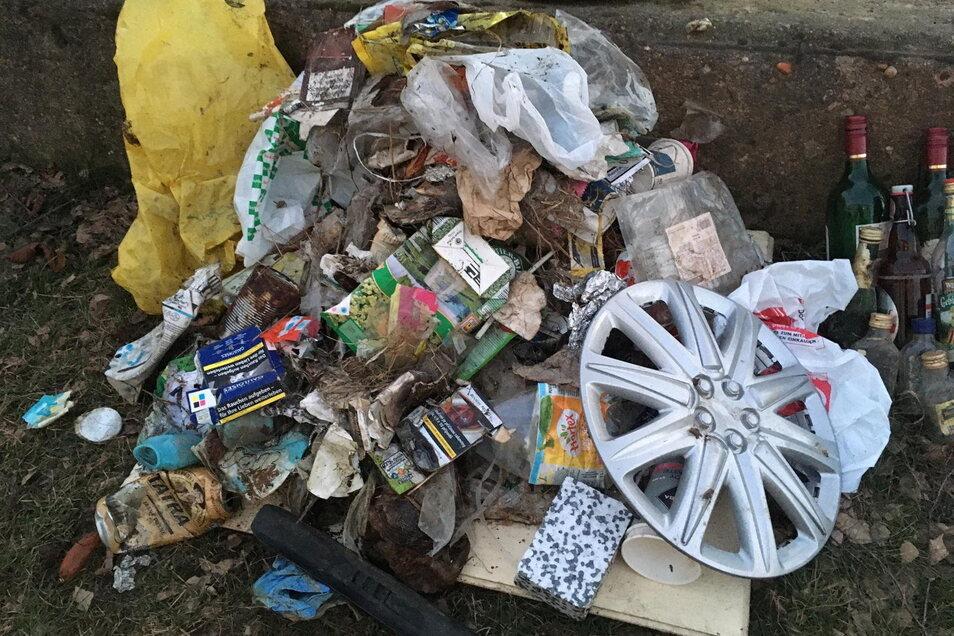 Diesen Müllberg sammelte ein junges Paar aus dem Nebelschützer Ortsteil Miltitz auf nur 500 Metern aus dem Straßengraben.