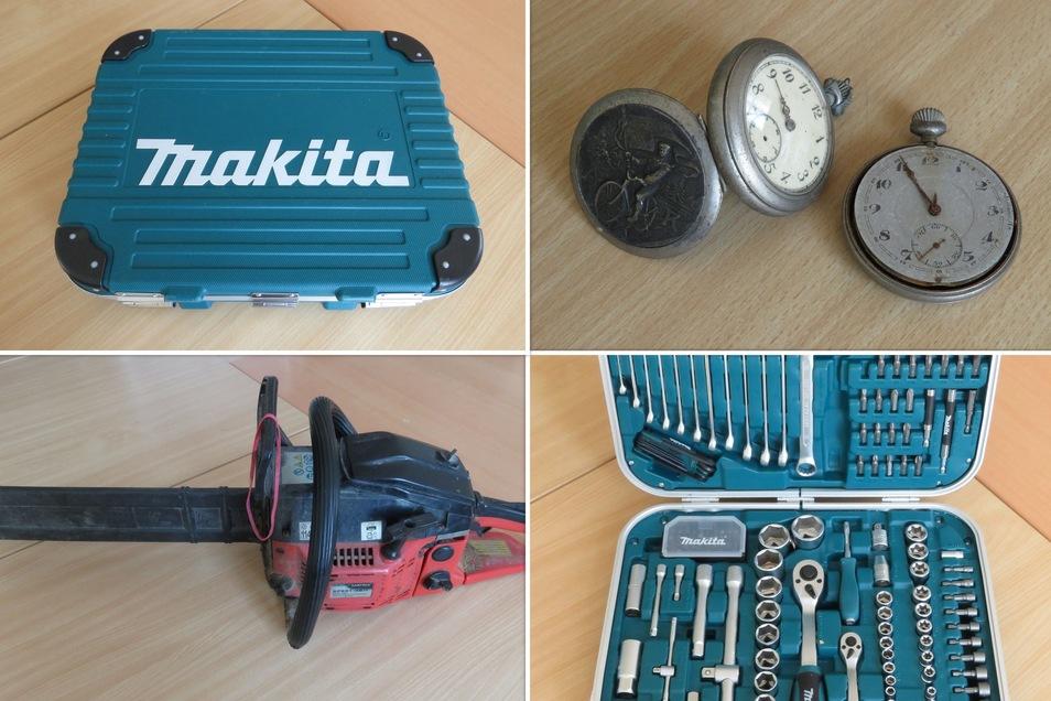 Besitzer gesucht für einen Makita-Werkzeugkoffer, eine Matrix-Kettensäge und zwei Taschenuhren.