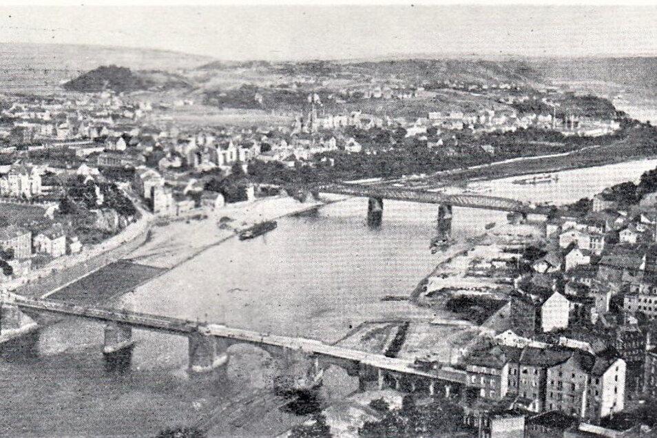 So haben die Große-Schwestern ihre Heimatstadt Meißen 1908 vom Ballon aus gesehen.