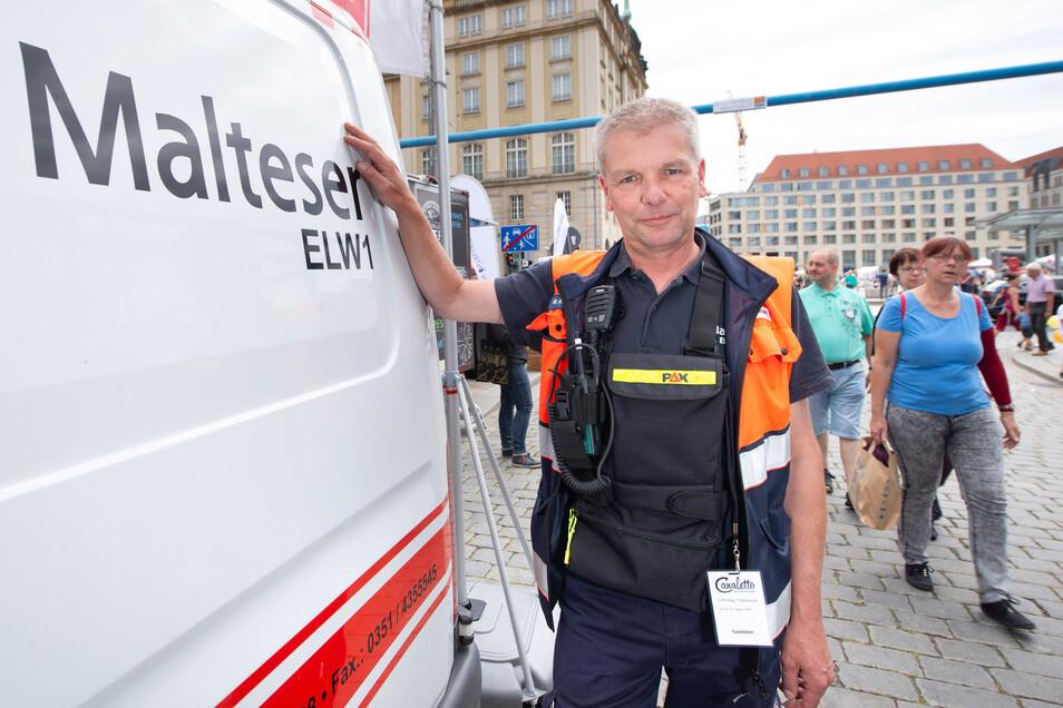 Einsatzleiter der Malteser,Rico Bäßler, ist seit dem ersten Stadtfest dabei.